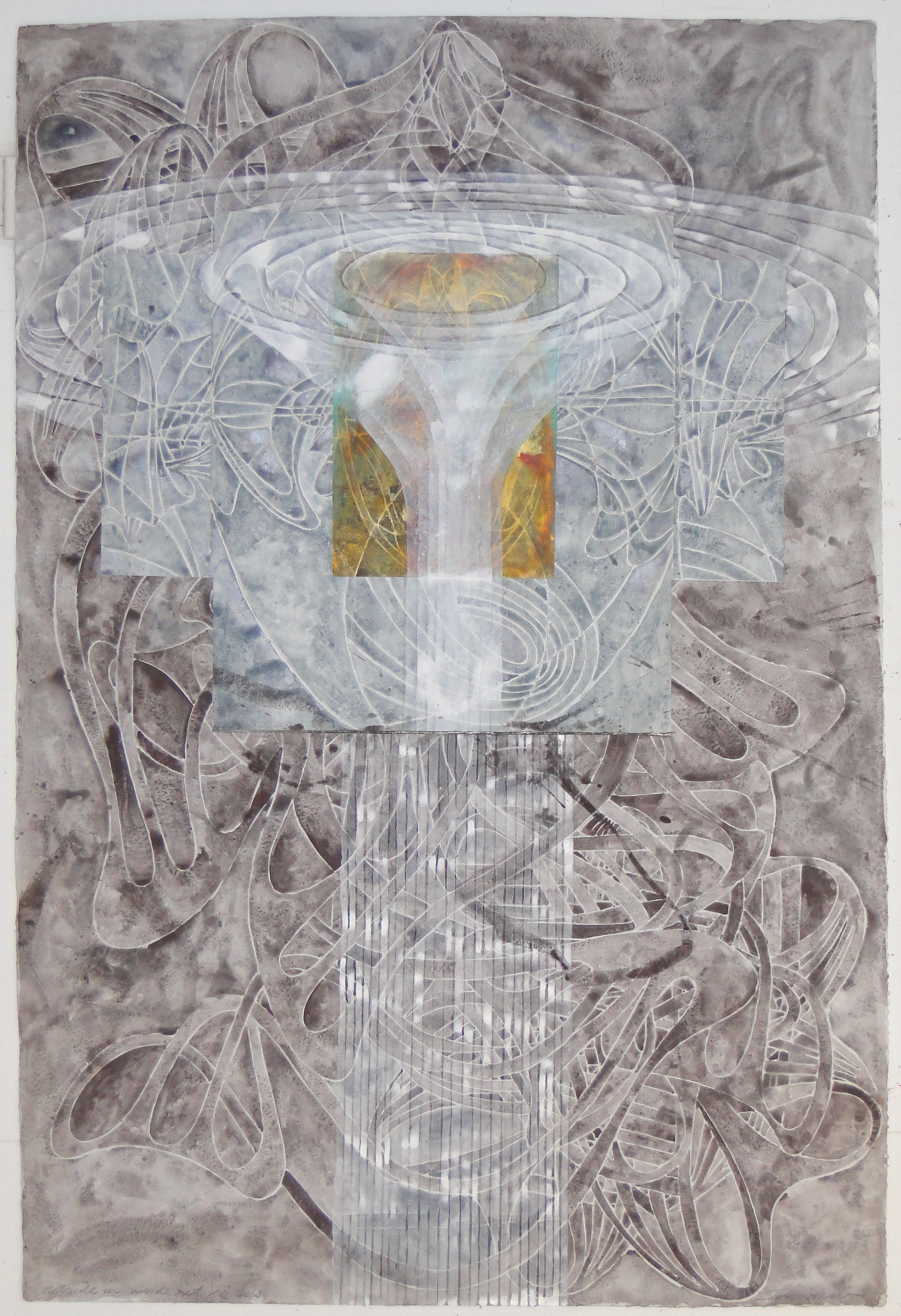 "Steven Sorman, ""outside in/inside out xvi,"" 2010  watercolor, gesso, collage on 1923 J Whatman paper  45"" x 31"""