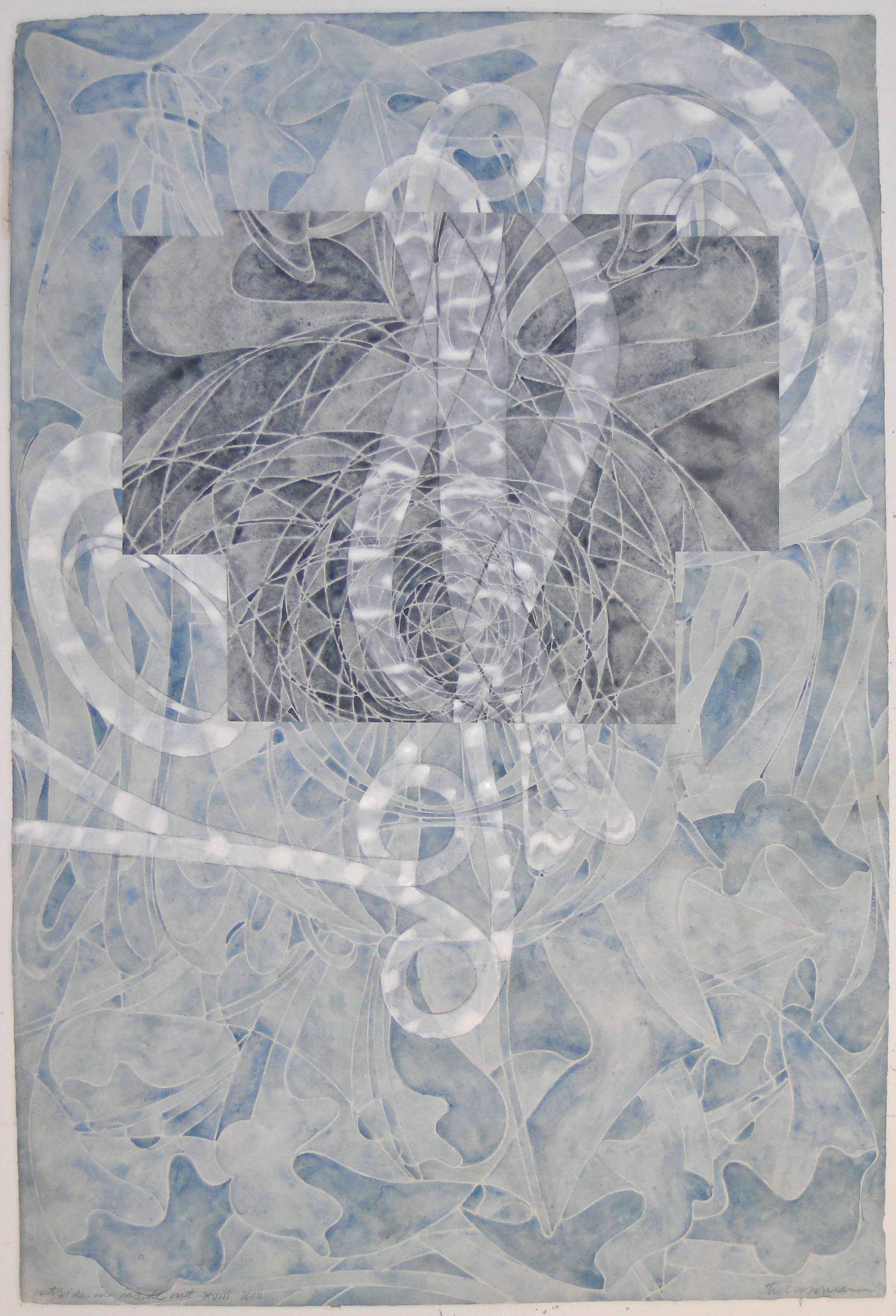 "Steven Sorman, ""outside in/inside out xviii,"" 2010  watercolor, gesso, collage on 1923 J Whatman paper  45"" x 31"""