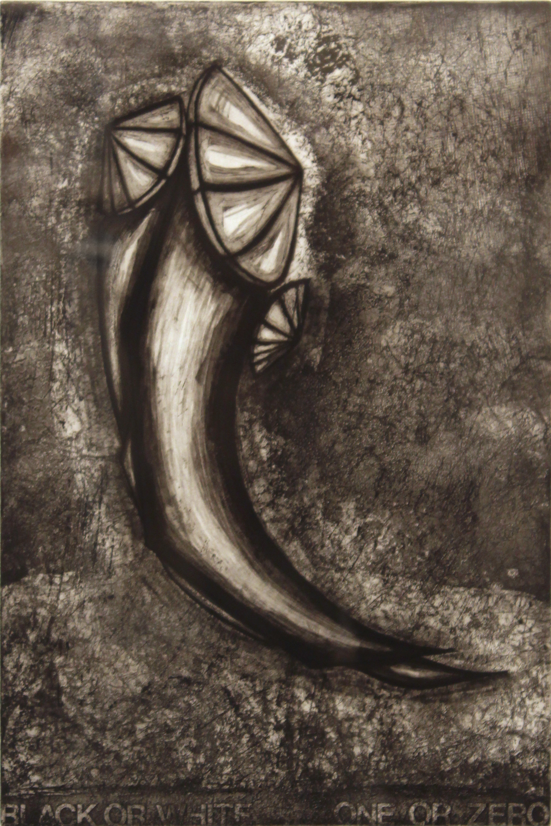 "Jim Nickel  (BIO)   ""Black or White: One or Zero,"" 1996  etching 3/25  27"" x 21"""