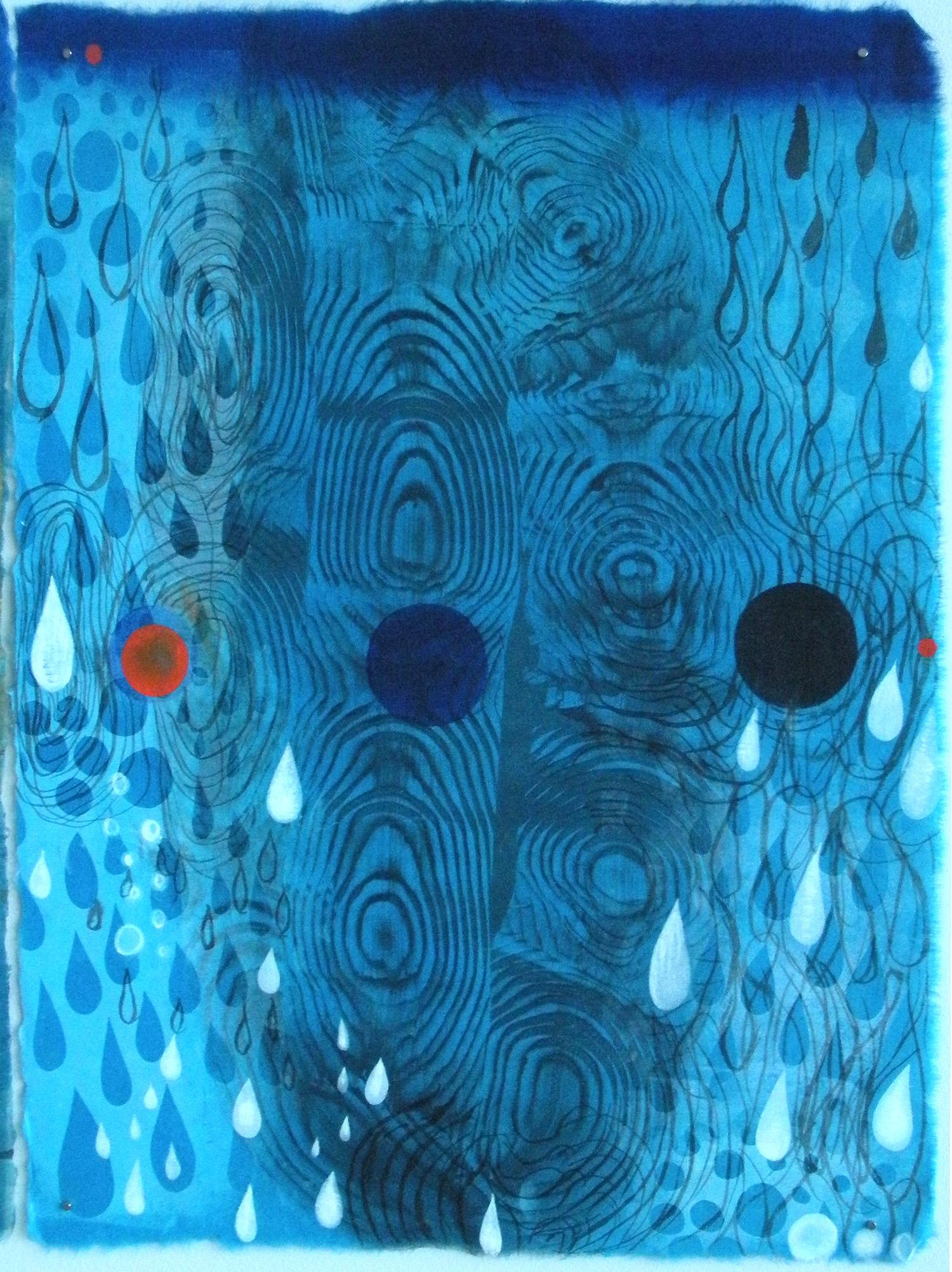 "Karen Kunc  (BIO)   ""Foreboding,"" 2014  monoprint and mixed media  24 1/8"" x 20 1/8"""