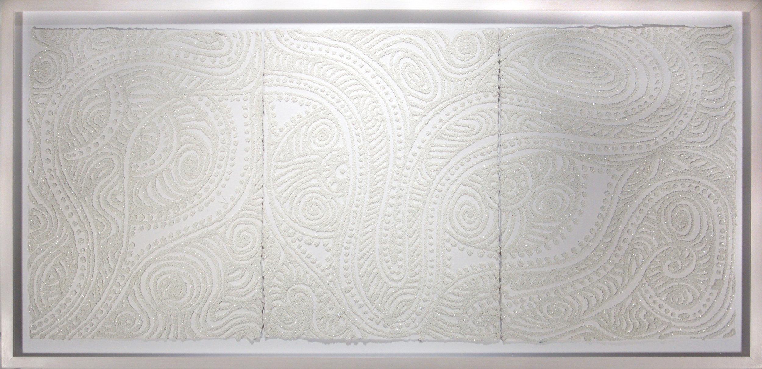 "Christopher Tanner  (BIO)   ""Alibino Desert,"" 2008  mixed media on handmade paper  19 1/8"" x 39 1/4"""