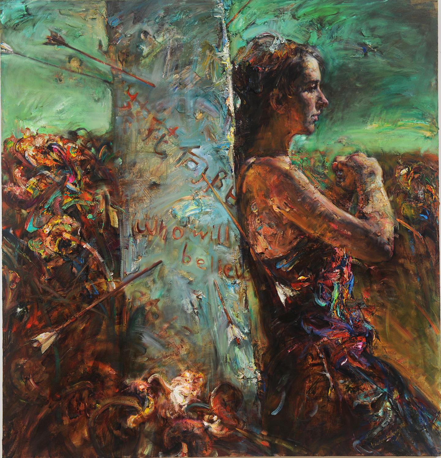"Victor Wang  (BIO)   ""The Arrowed Pillar,"" 2014  oil on canvas  52 1/4"" x 50 1/4"""