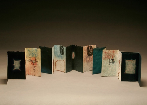 "Karen Kunc  (BIO)   ""Small Gifts,"" 2004  bookwork: etching, aquatint, and letterpress 11/18  size variable: max. size 5 1/4"" x 63"""