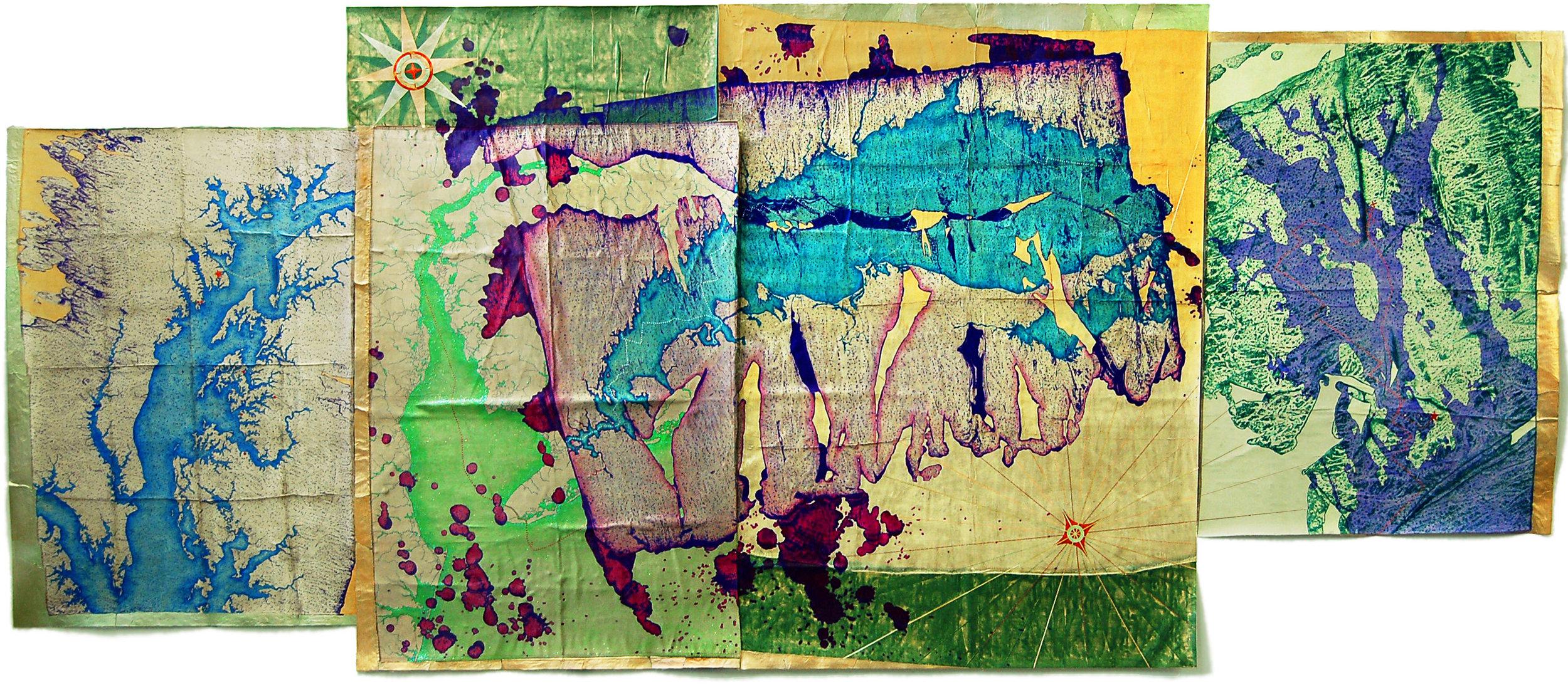 "Leila Daw  (BIO)   ""Northeast Seas Exploration Fragments,"" 2011  mixed media on silk backed by canvas  60"" x 143"""