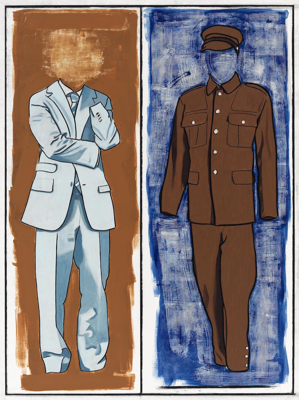 "Art Kleinman  (BIO)   ""Mustard,"" 2010  mixed media on paper  48"" x 36"""