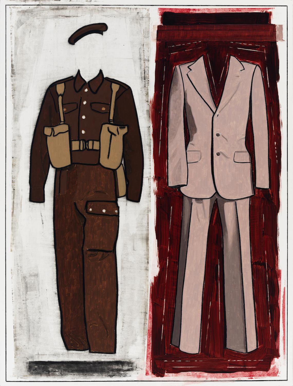 """Art Kleinman  (BIO)   """"Transfusion,"""" 2010  mixed media on paper  48"""" x 36"""""""