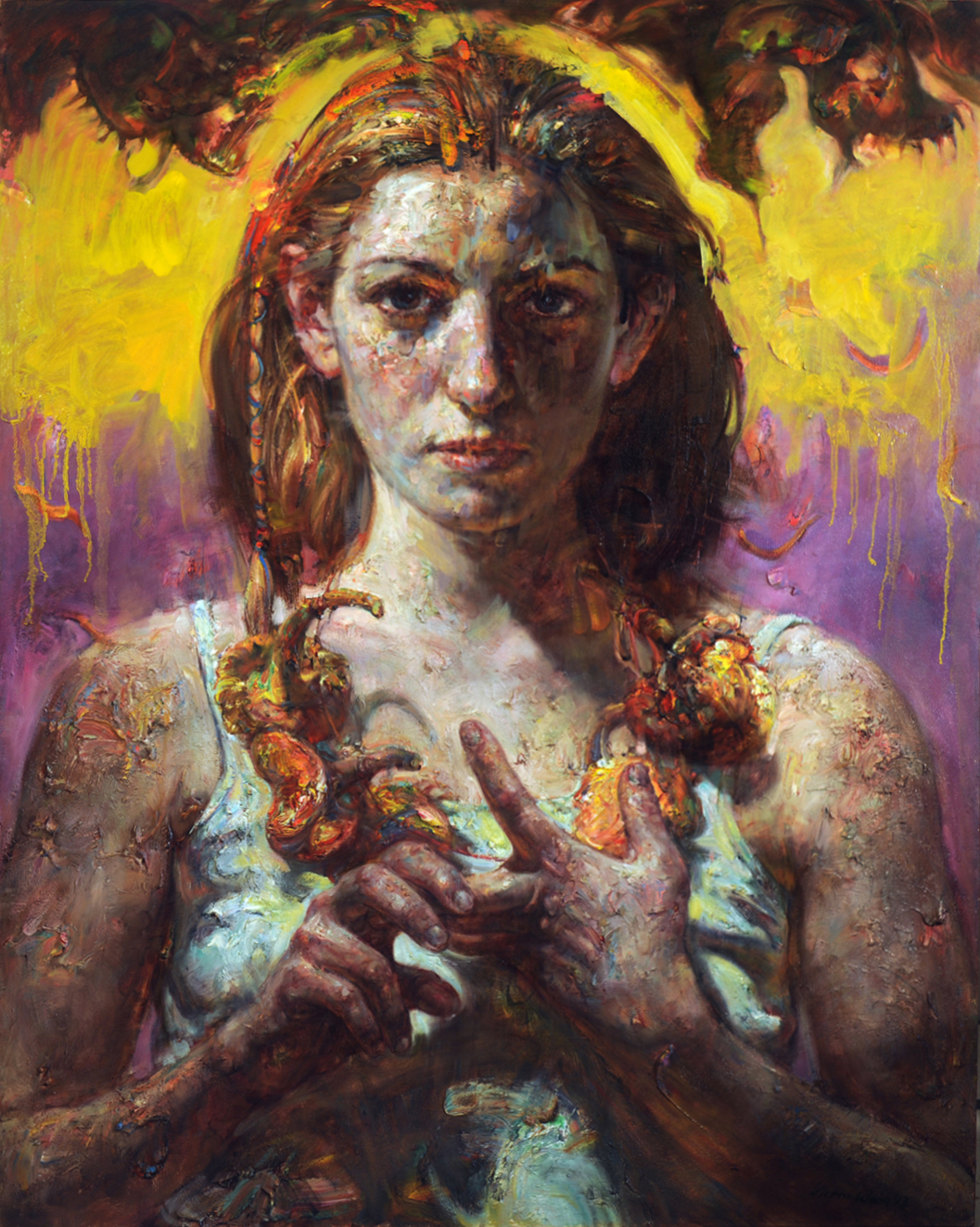 "Victor Wang  (BIO)   ""Purple Sky,"" 2016  oil on canvas  60"" x 48"""