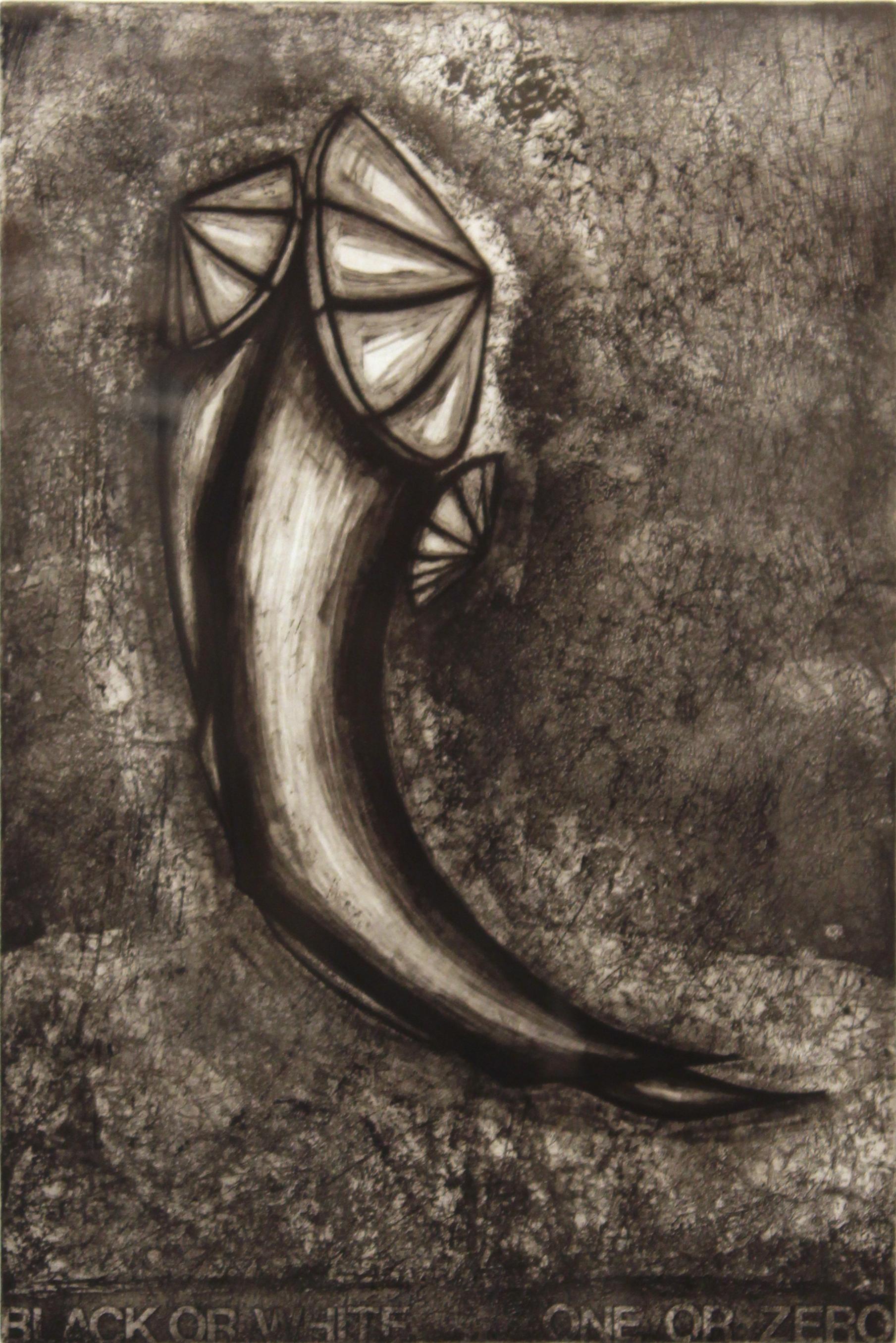 """Black or White: One or Zero,  1996  etching 3/25  27"""" x 21"""""""