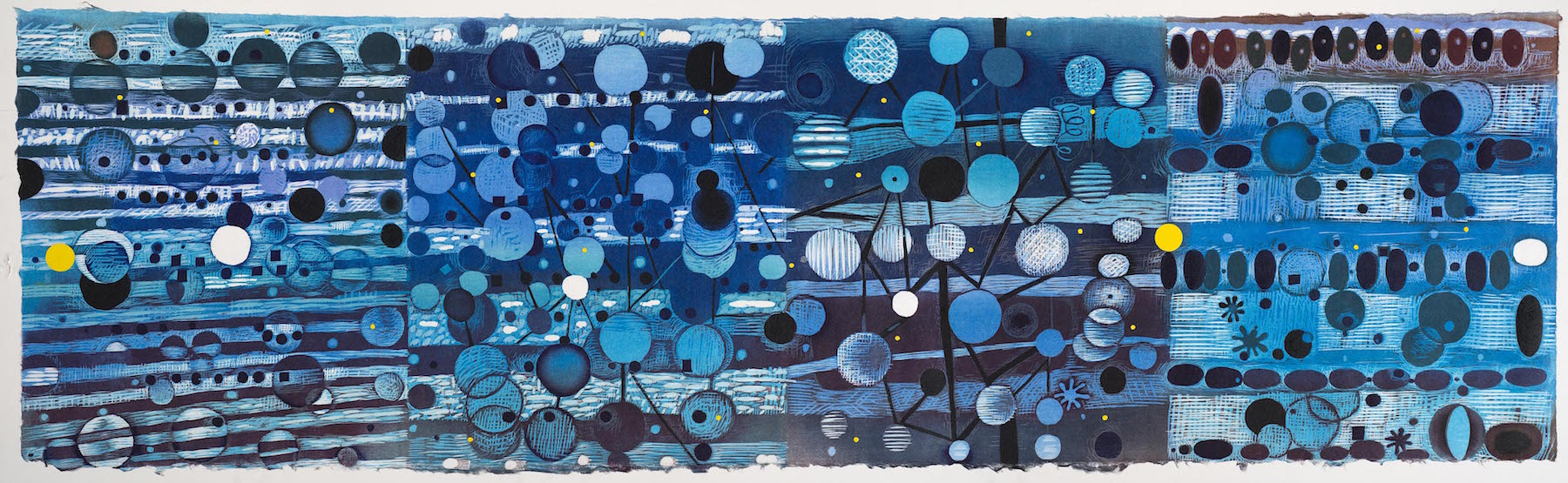 "Karen Kunc  (BIO)    Oscillation Shift , 2015  woodcut  17"" x 56"""