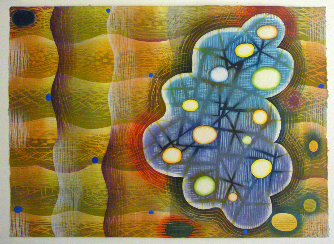 """Karen Kunc  (BIO)    Biocosmic Wave , 2013  woodcut  30"""" x 35"""""""