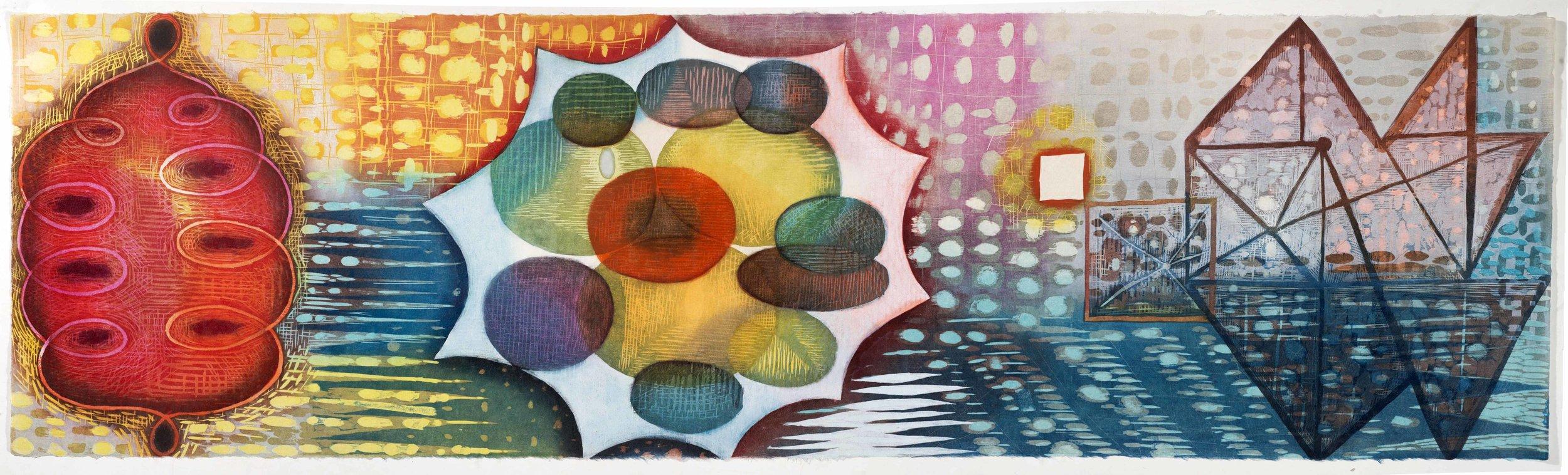 "Karen Kunc  (BIO)    Persian Flower , 2014  woodcut  25"" x 64"""
