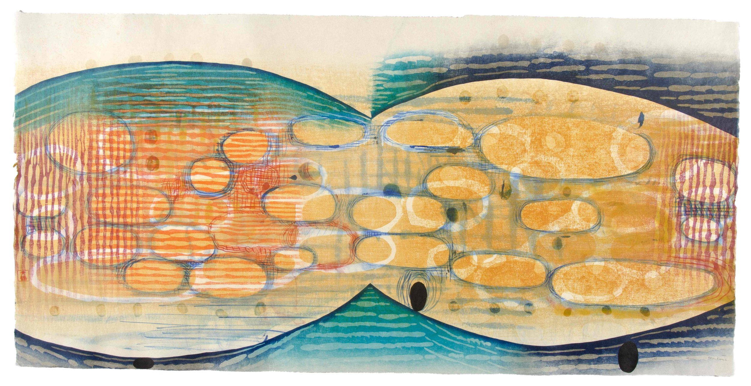 "Karen Kunc  (BIO)    Swell , 2011  woodcut, mokuhanga woodblock, watercolor, wax  22"" x 42"""