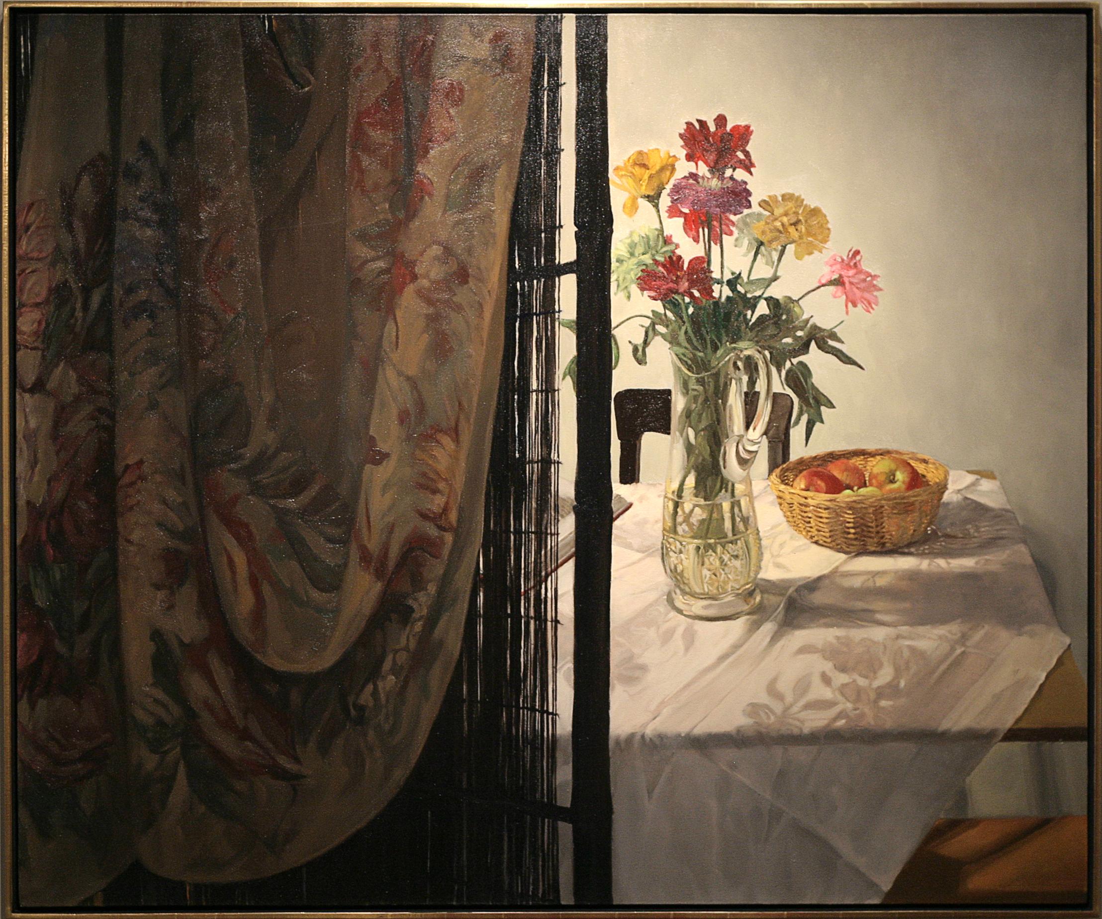 """Mary Joan Waid  (BIO)    Veiled ,2002  oil on canvas  51 1/2"""" x 61 1/2"""""""