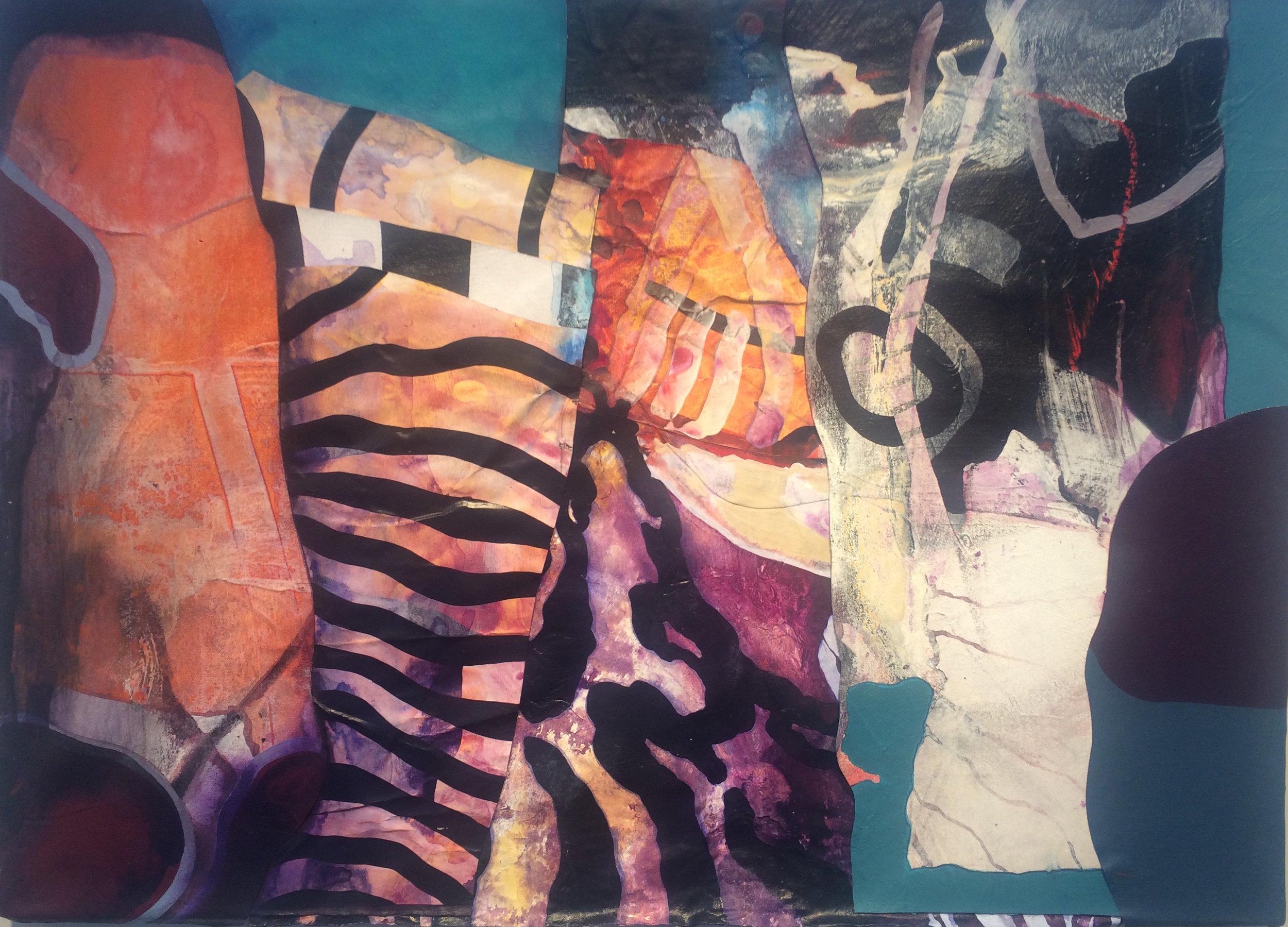 "Kirk Pedersen   (BIO)    Cavalli ,2000  acrylic on canvas with Tyrek  33 1/4"" x 45 1/8"""