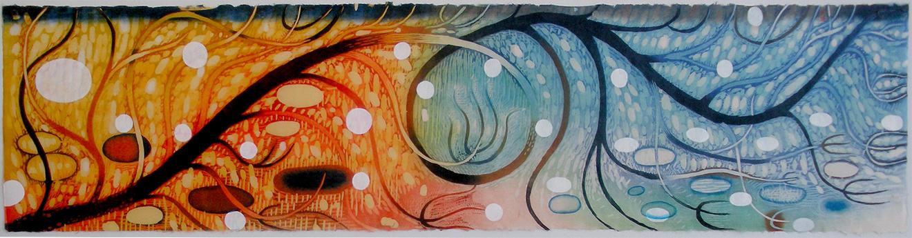 "Karen Kunc  (BIO) ,  Windward Axis  ,2016, woodcut and pochoir, 13"" x 57"""