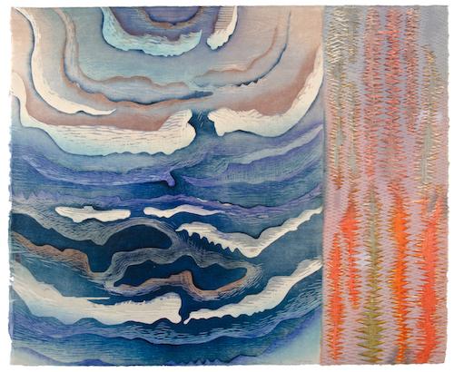 """Karen Kunc  (BIO)     Clouds and Sparks , 2011  woodcut  30"""" x 35"""""""
