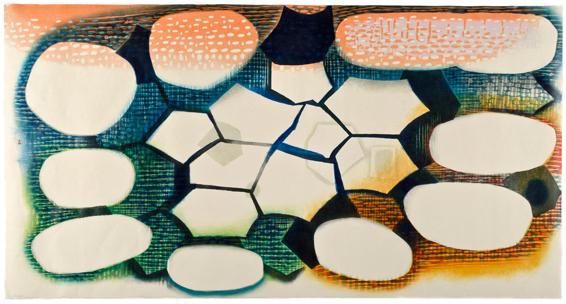 "Karen Kunc  (BIO)     Whelming Waters  ,2011  woodcut on Okawara paper  38"" x 72"""