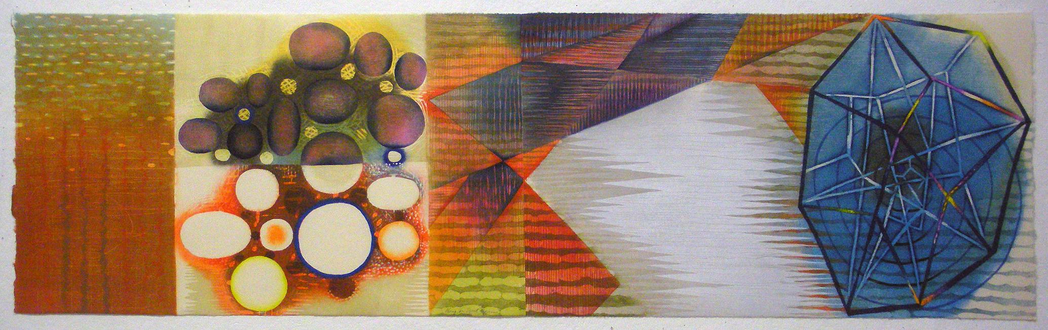 "Karen Kunc  (BIO) ,  Along an Event Horizon  ,2013, woodcut, 21"" x 57"""