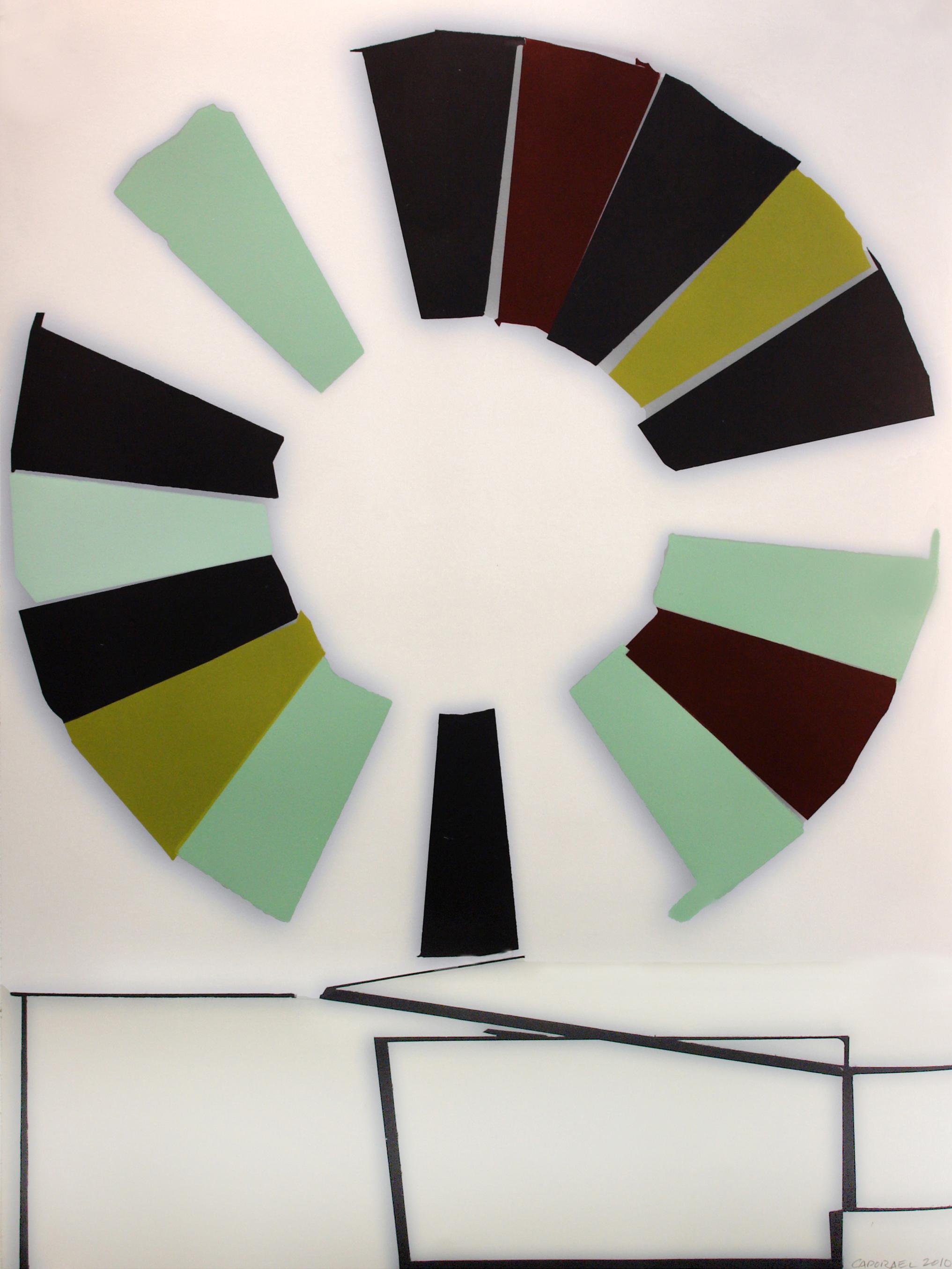 "Suzanne Caporael  (  BIO)   ""The Wheel,"" 2011  relief, intaglio, digital AP 3/8  53 1/2"" x 41"""