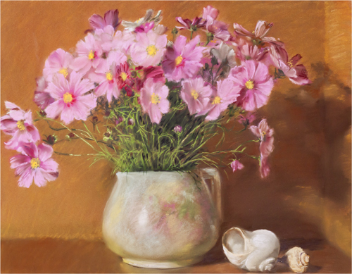 "Mary Joan Waid    (BIO) ,   Grandma's Pitcher with Cosmos  , 2009, pastel on paper, 28"" x 34"""