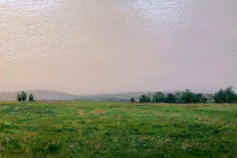 "Adam Straus  (BIO) ,   Catskills Early Morning  , 2009, oil on paper, 14"" x 17"""