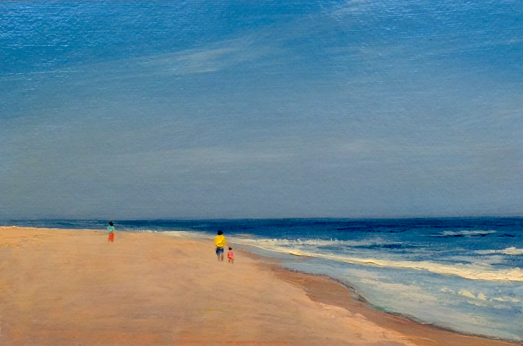 "Adam Straus  (BIO) ,   Colors On The Beach  , 2009, oil on paper, 14"" x 17"""