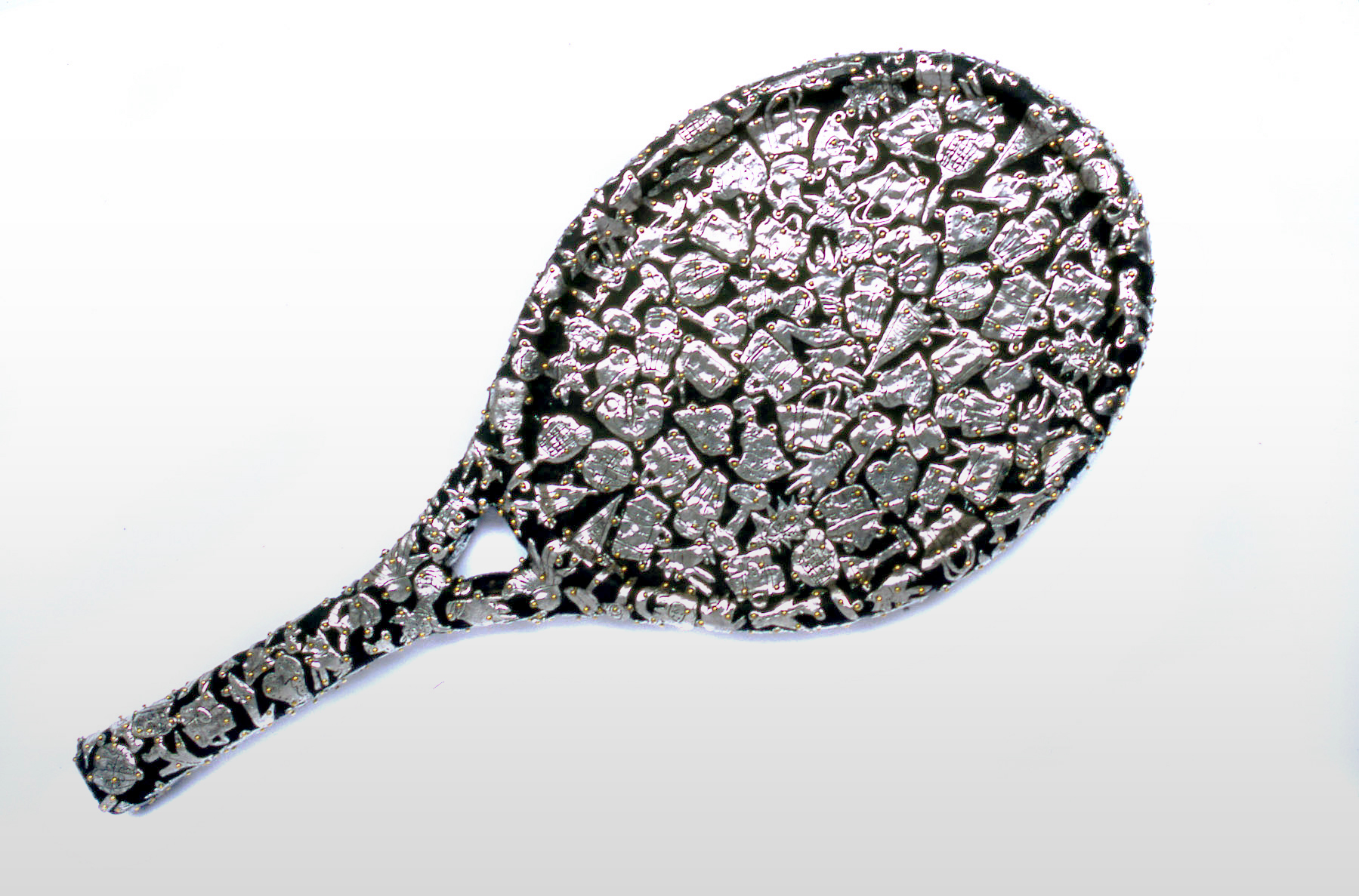 "Claudia DeMonte  (BIO) ,   Female Fetish: Tennis Racket  , 2005, pewter and brass on wood, 27"" x 11"" x 2"""