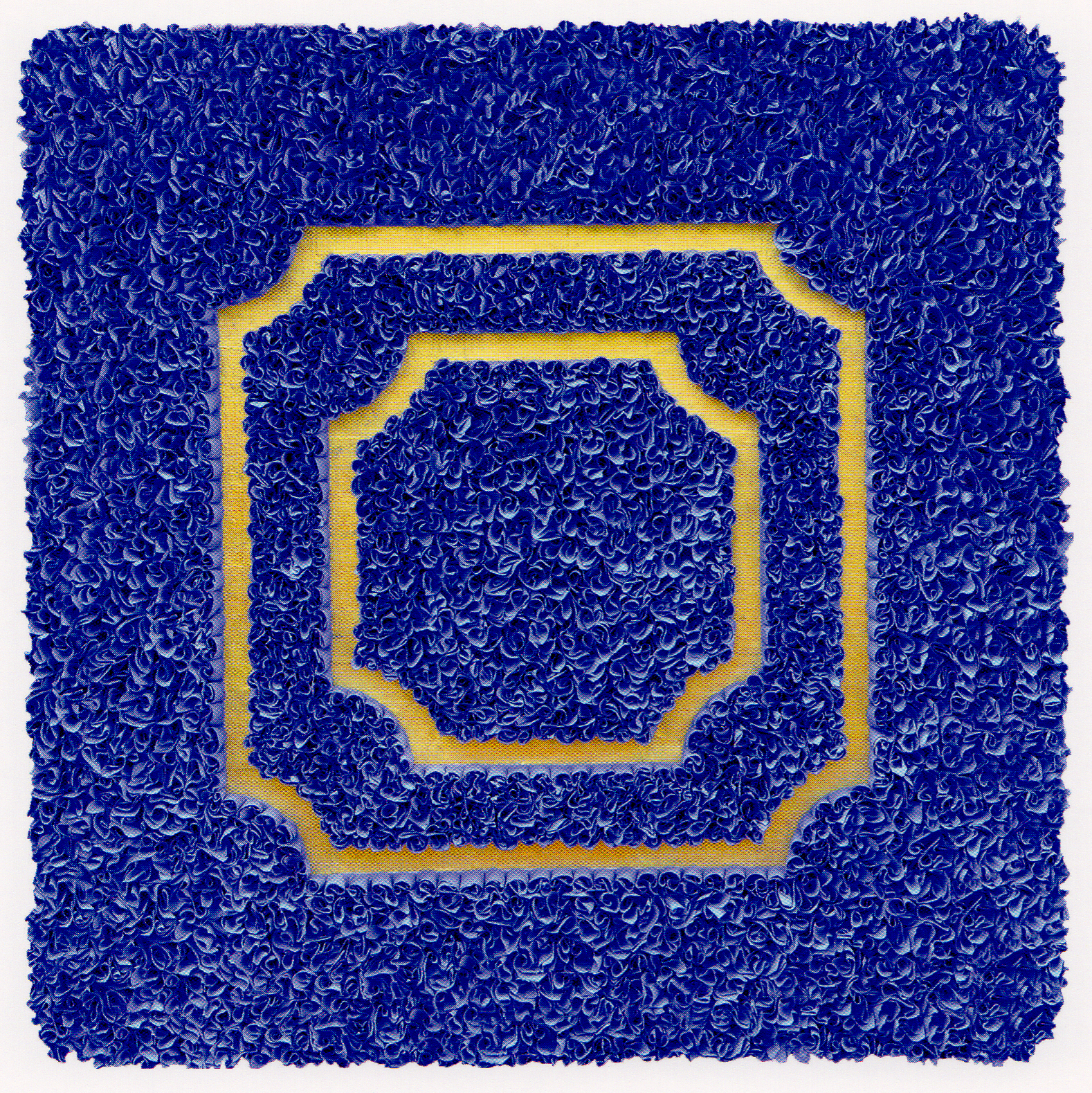 """Bert, Lore  (BIO)   Divisions (blue),   2009 relief object with Japanese paper and gold leaf 22"""" x 22"""""""