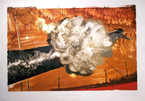 "Julio Larraz, ""The Canon Ball Man,"" 1989 30 1/4"" x 42"""