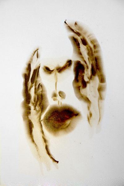 "Adrian Luchini ""Study for Despair, 1"", 2012 bitumen of judea, shellac 25 3/4"" x 21"""