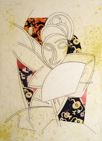 "Manolo Valdes, ""Cubismo Como Pretexto V, "" 2004 etching with unique color collage 12/25 27 1/2"" x 21 3/8"""