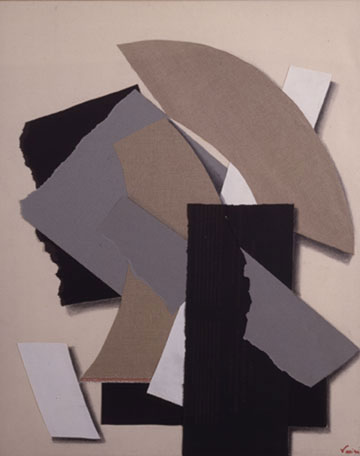 """Sophia Varia, """"Fulgurations,"""" 1994 canvas, paper, and charcoal collage on canvas 47 1/4"""" x 39 1/4"""""""