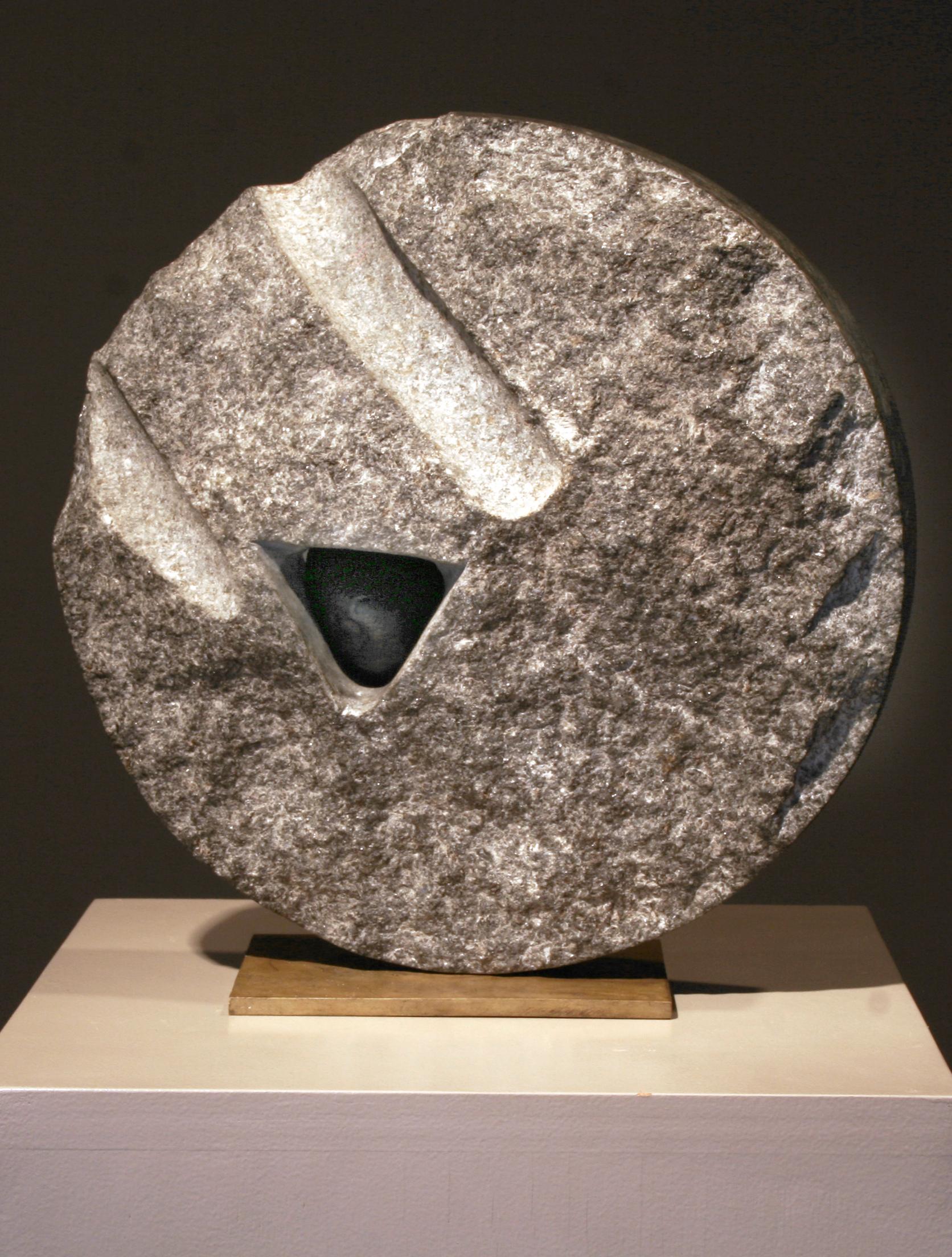 "Lika Mutal ""Small Stone of Origin,"" 1998 black granite and onyx 12"" x 12"" x 5 1/4"""