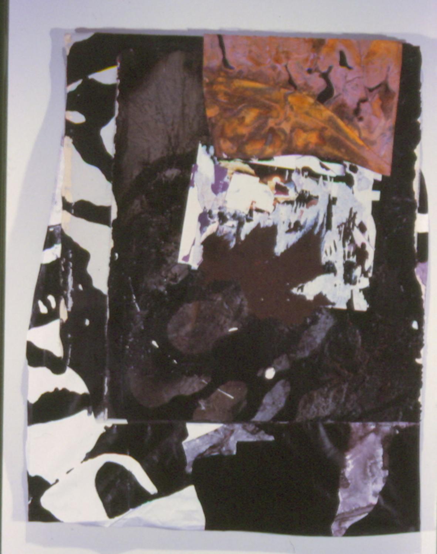 """Kirk Pedersen """"Chanel,"""" 2000 mixed media, acrylic on canvas, tyvek 35 3/4"""" x 28 1/2"""""""