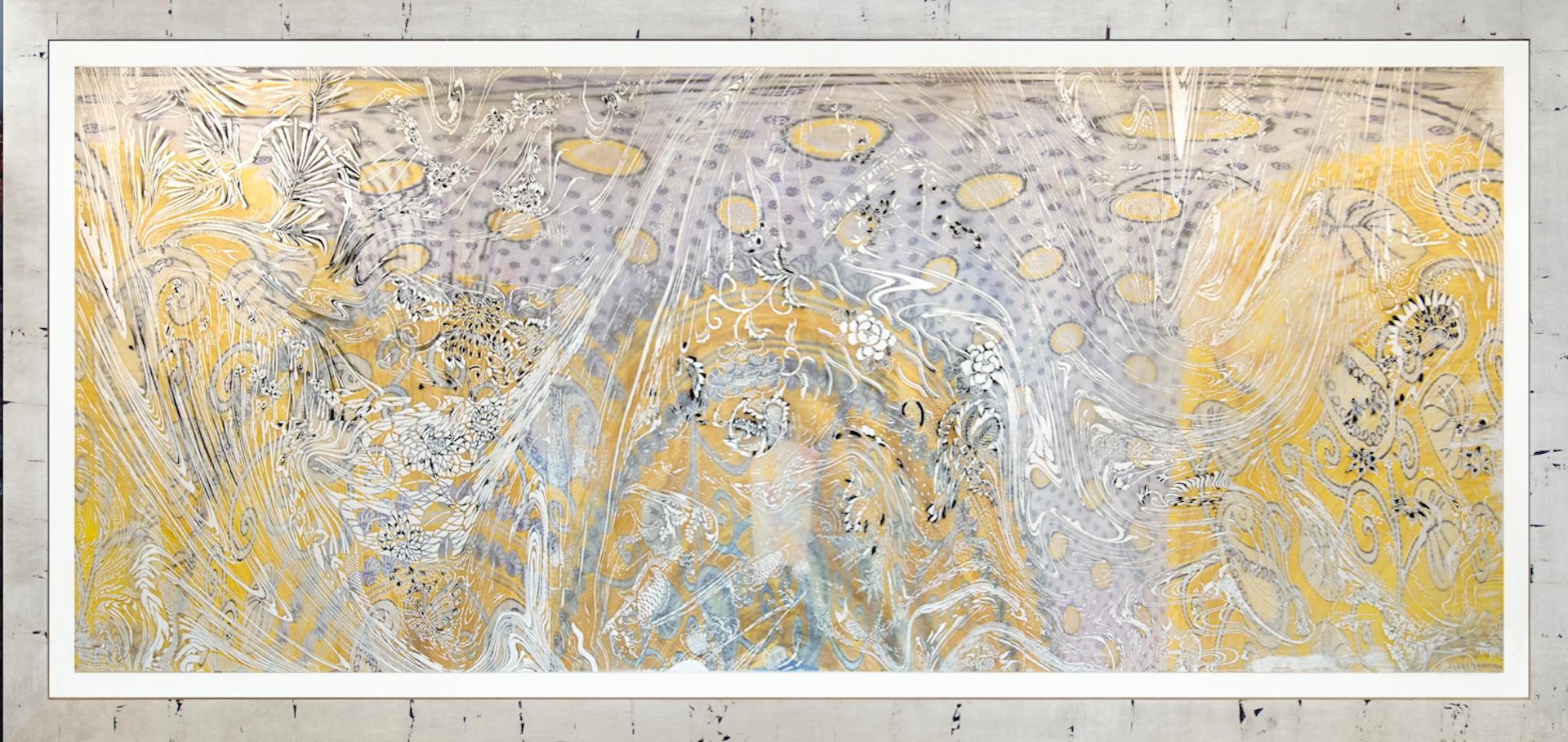 """""""Morning Raga,"""" [8/12], 2017 woodcut, hand painted dye and ink archival inkjet, clear plastic film 44"""" x 99 1/2"""""""