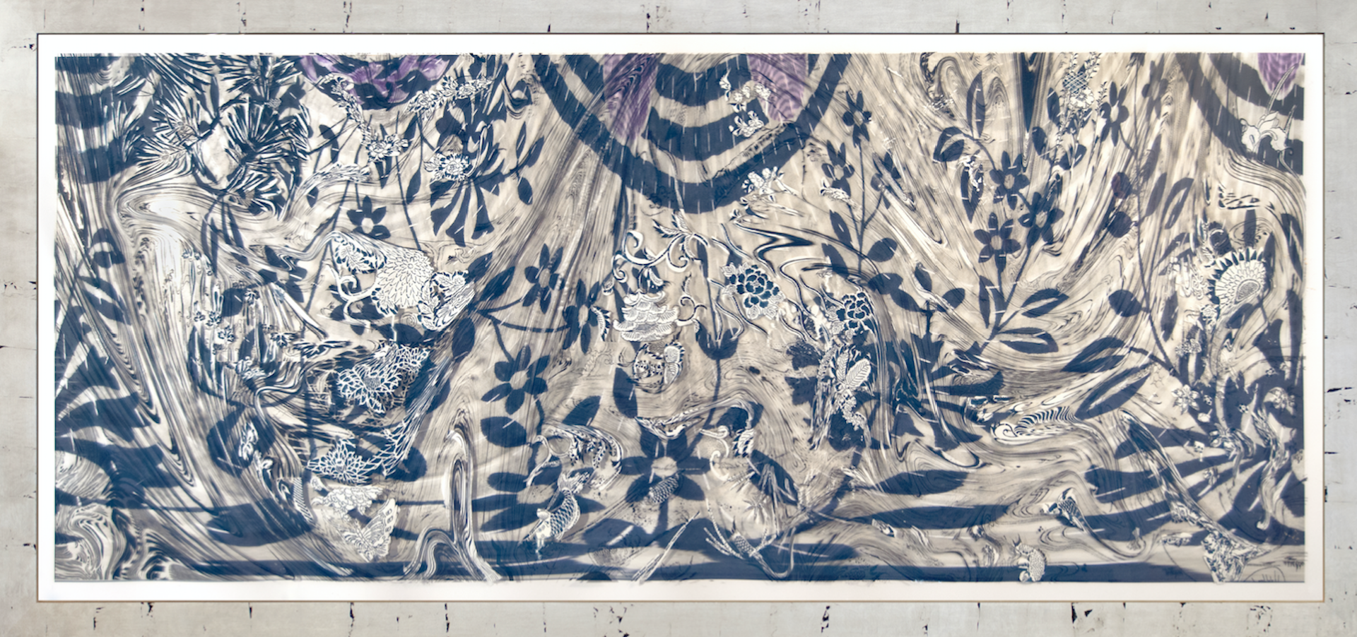 """""""Evening Raga,"""" [312], 2017 woodcut, hand painted dye and ink archival inkjet, 44"""" x 96"""""""