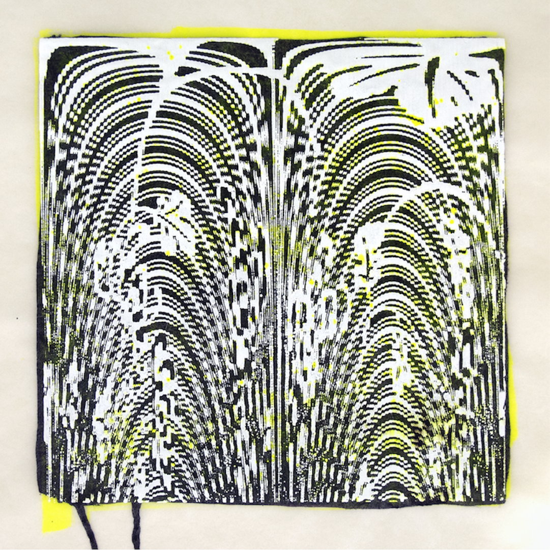 """Copy of Spinner 1 [29/30] woodcut, hand painted dye 12"""" x 12"""""""
