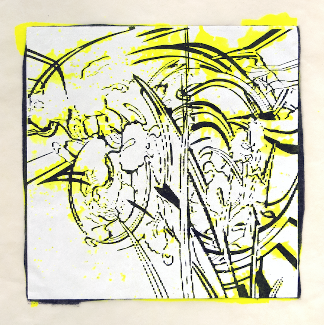 """Copy of Spinner 2 [29/30] woodcut, hand painted dye 12"""" x 12"""""""