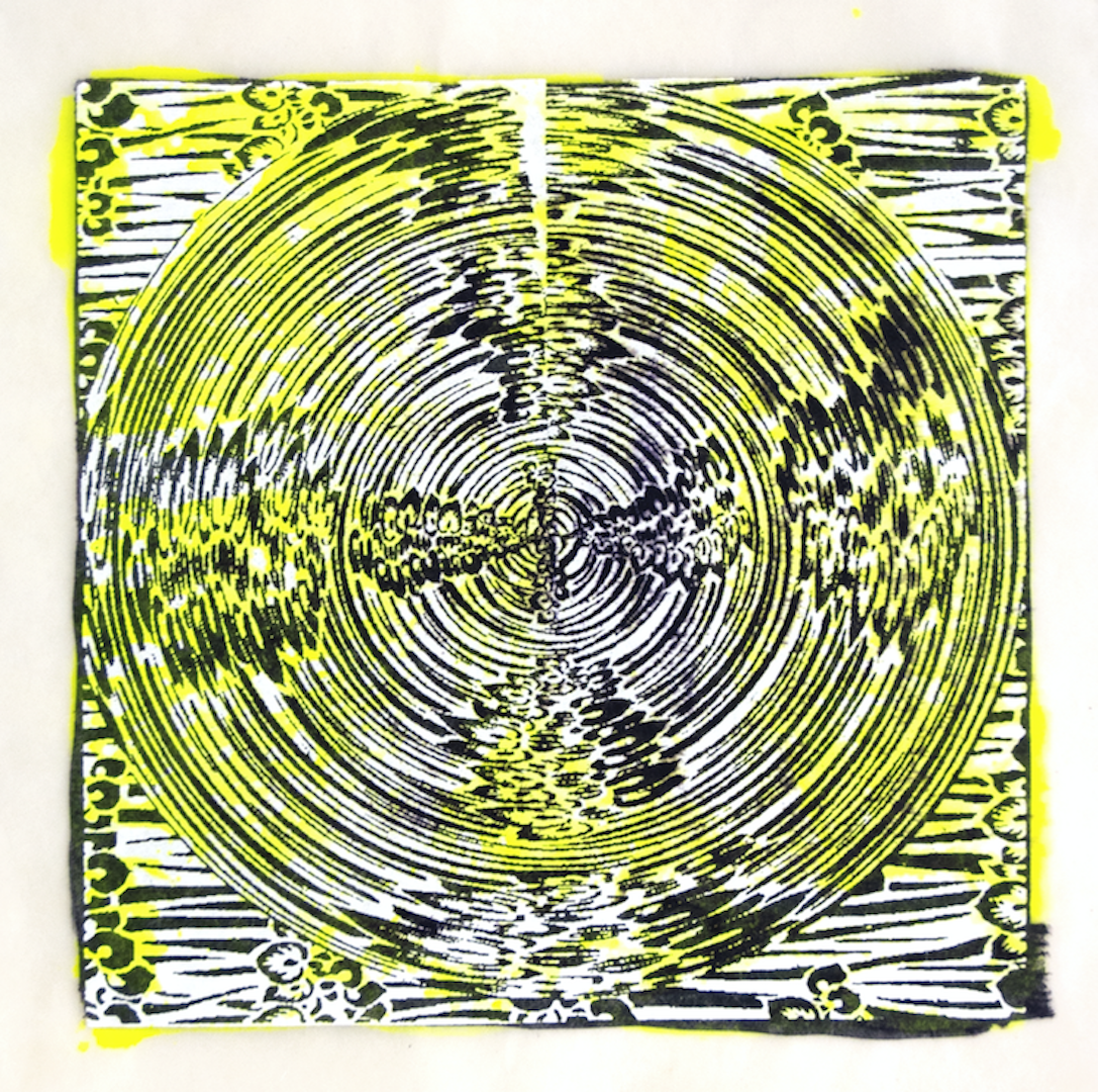"""Copy of Spinner 8 [29/30] woodcut, hand painted dye 12"""" x 12"""""""