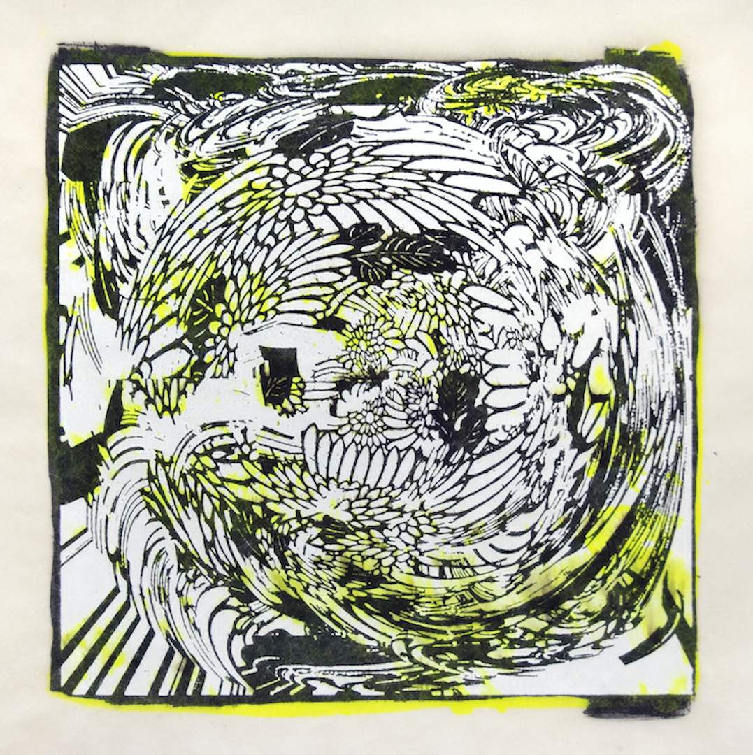 """Copy of Spinner 5 [29/30] woodcut, hand painted dye 12"""" x 12"""""""
