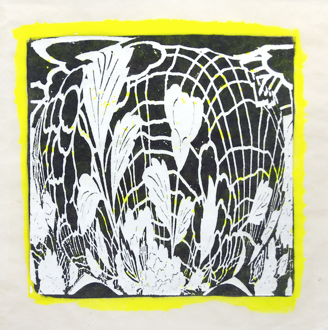 """Copy of Spinner 4 [29/30] woodcut, hand painted dye 12"""" x 12"""""""