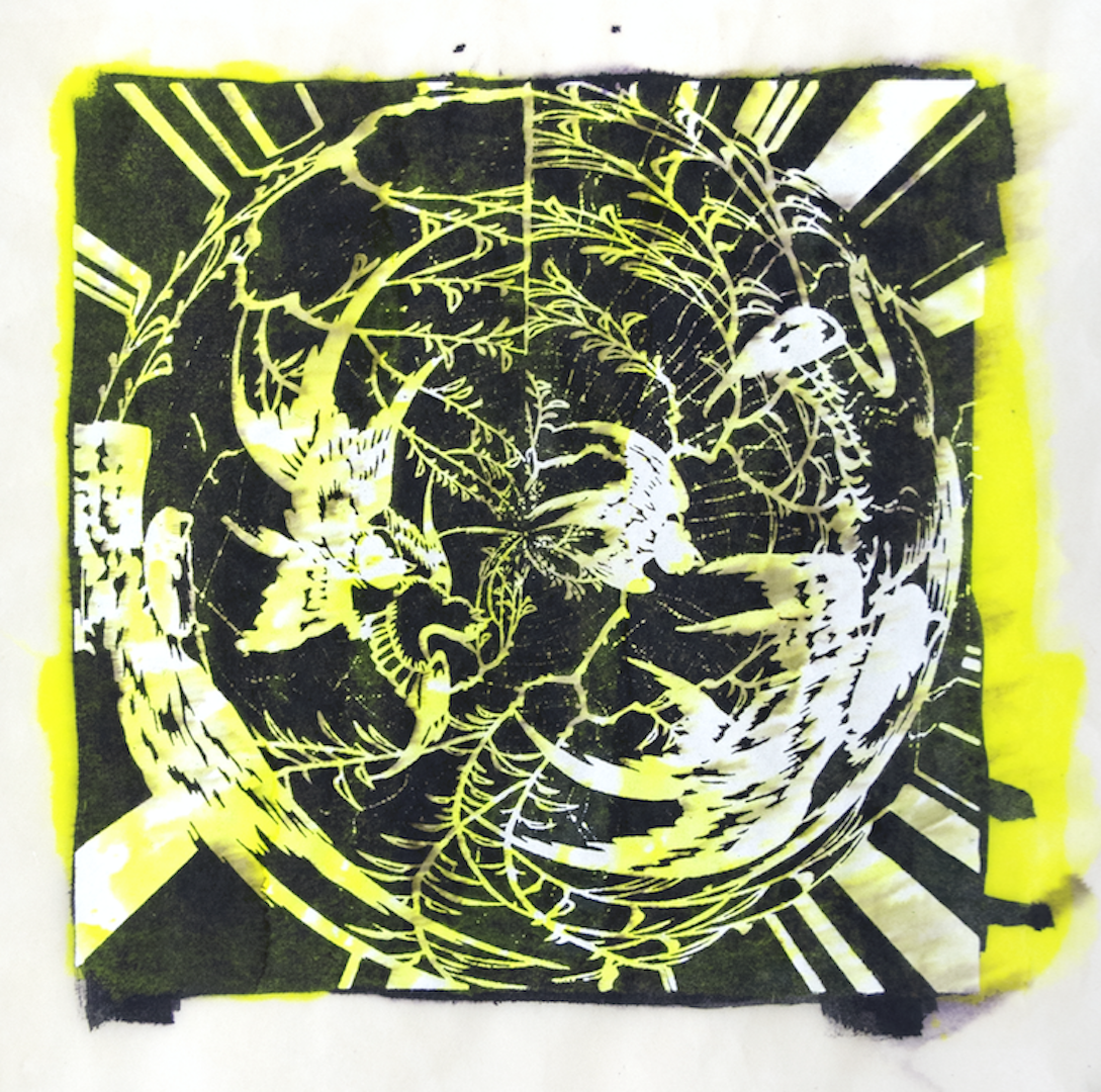 """Copy of Spinner 6 [29/30] woodcut, hand painted dye 12"""" x 12"""""""