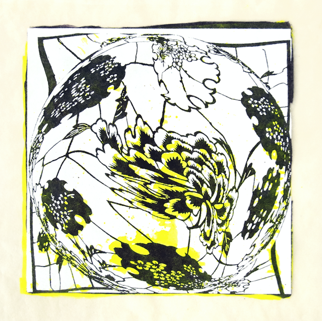"""Copy of Spinner 7 [29/30] woodcut, hand painted dye 12"""" x 12"""""""