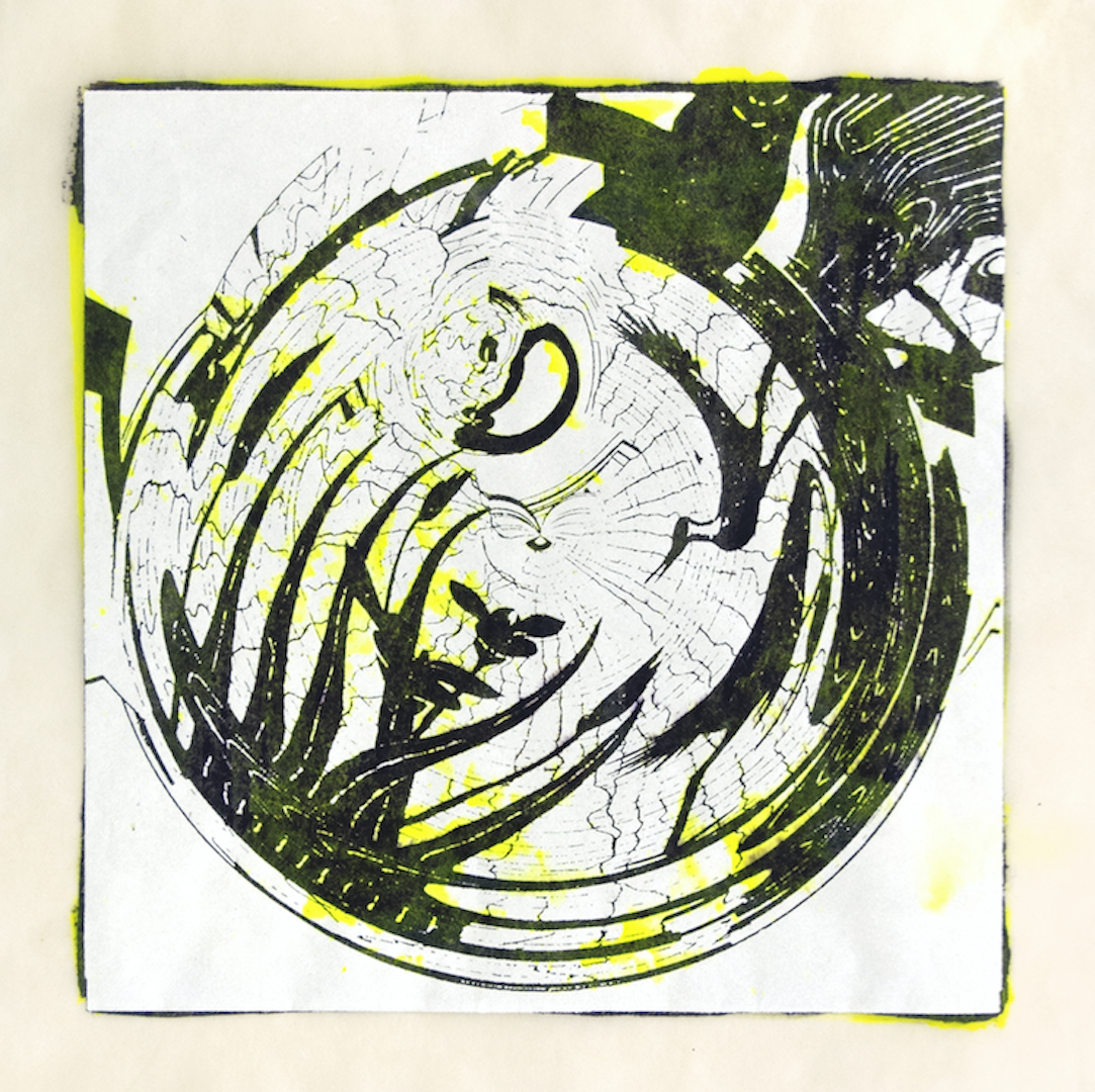 """Copy of Spinner 9 [29/30] woodcut, hand painted dye 12"""" x 12"""""""