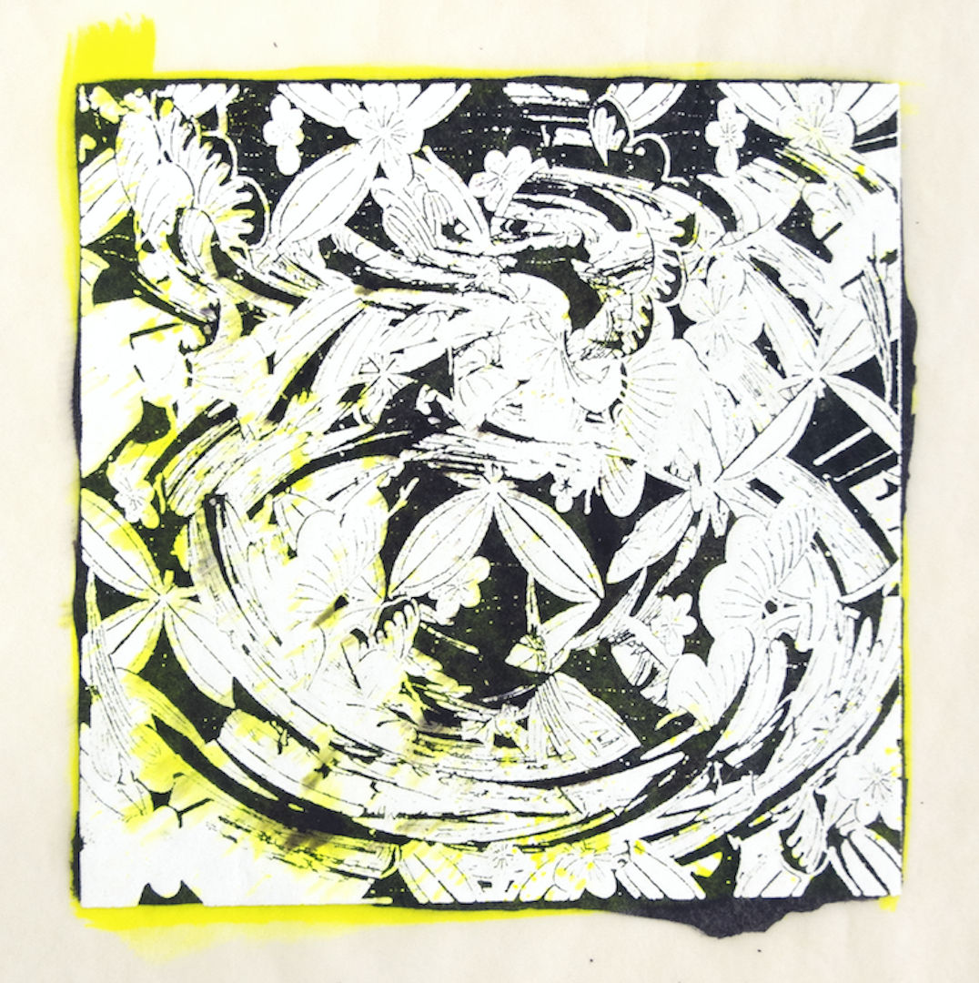 """Copy of Spinner 10 [29/30] woodcut, hand painted dye 12"""" x 12"""""""
