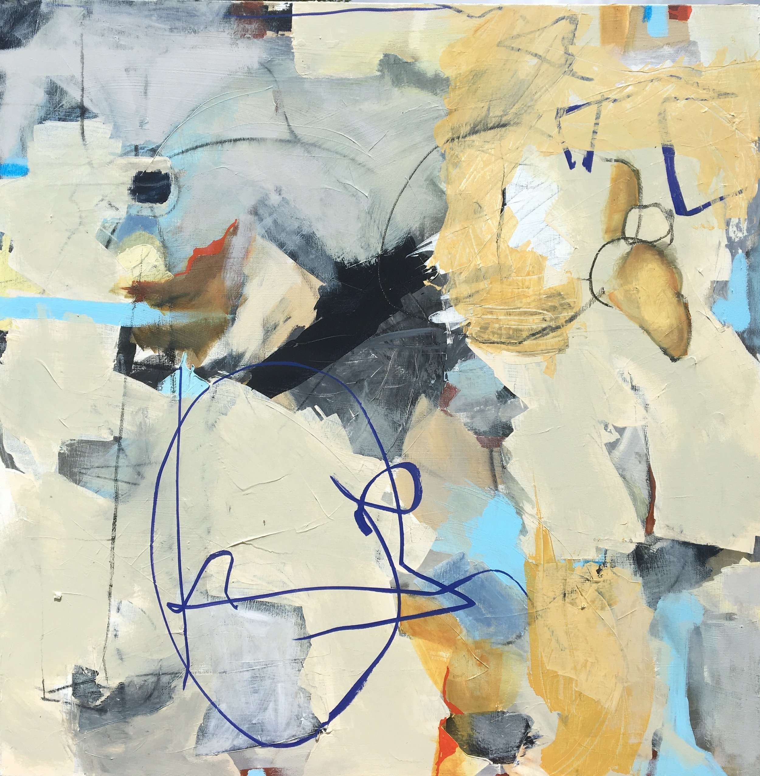 "Caroline Weld, ""Pebble Pile,"" 2018 acrylic on canvas  371/2"" x 37 1/2"" x 2"""