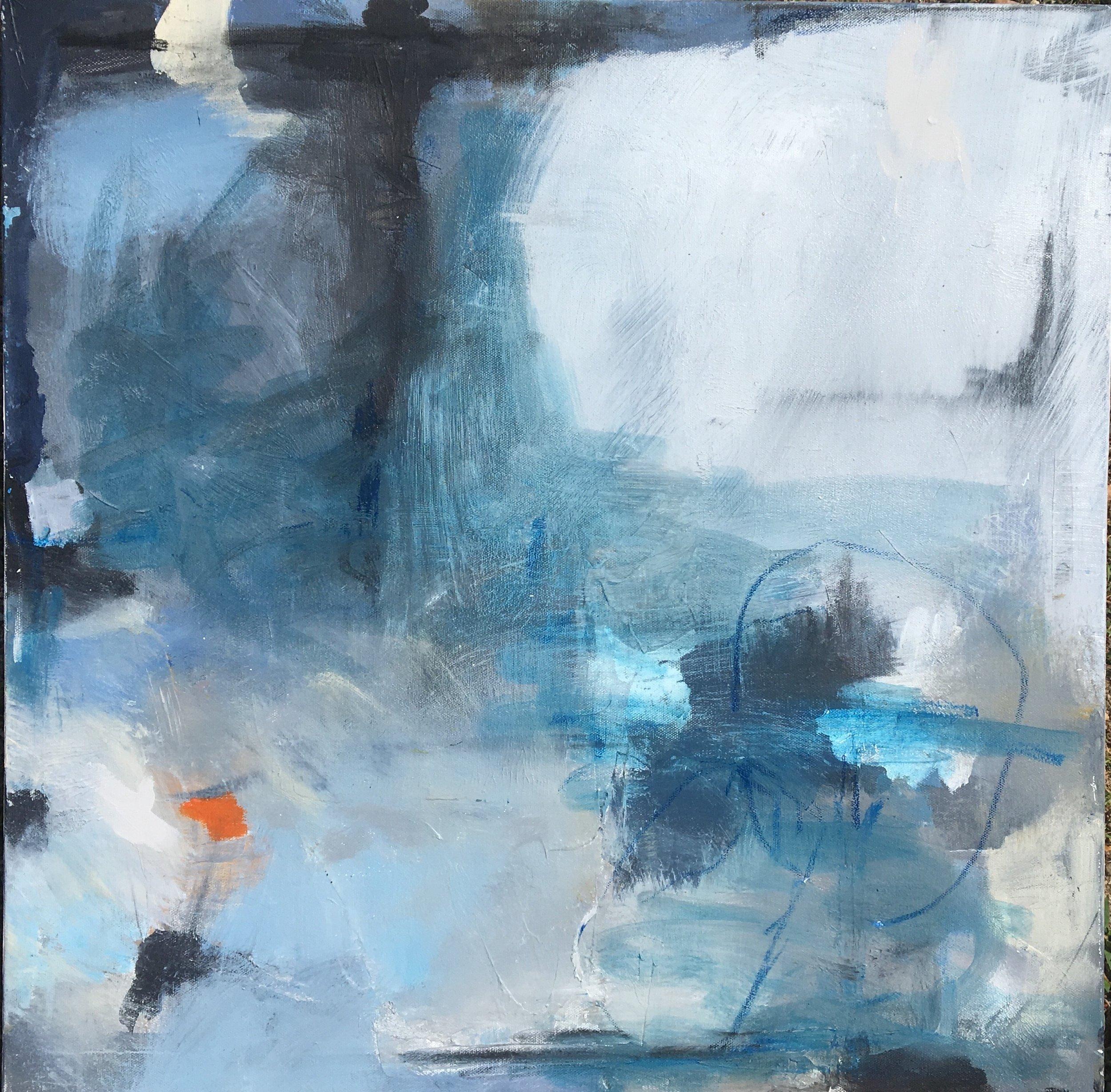 "Caroline Weld, ""Squall, "" 2018 acrylic on canvas 25 1/2"" x 25 1/2"" x 2"""