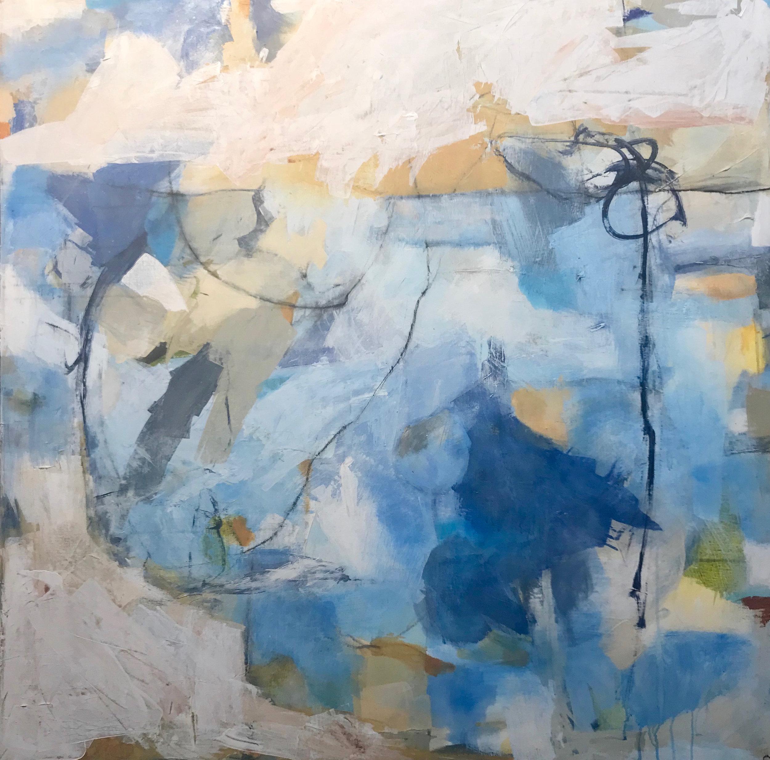 "Caroline Weld, ""Blue Perspective, "" 2018 acrylic on canvas 47 1/2"" x 47 1/2' x 2"""