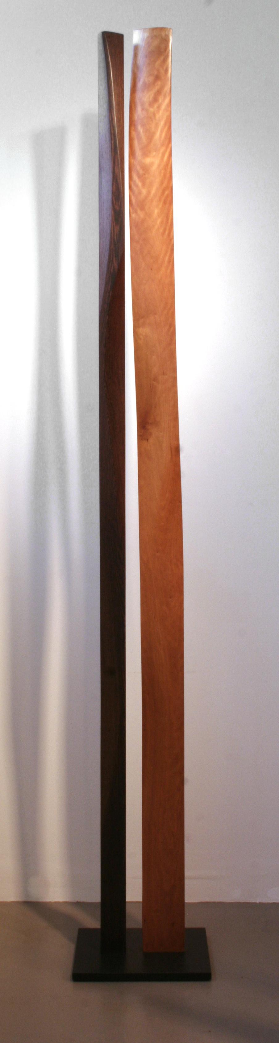 "John Schwarzkopf ""Gracious Duo,"" 2009 paperstone, cherry, wenge 97"" x 14"" 12"""