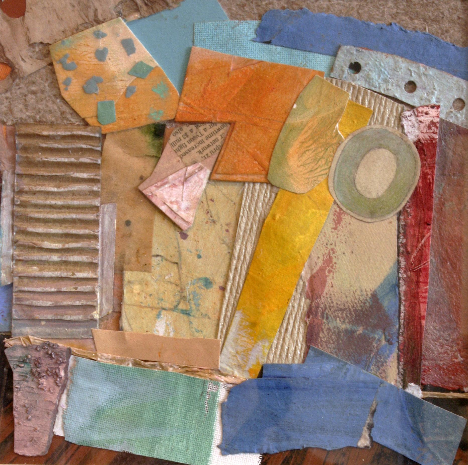 "Janet Sorokin, ""Fugue,"" 2013, mixed media collage, 14 3/4 x 14 3/4"""